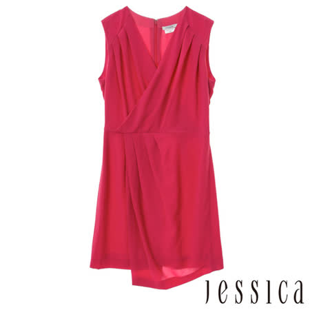 JESSICA RED-高雅知性抓皺無袖洋裝