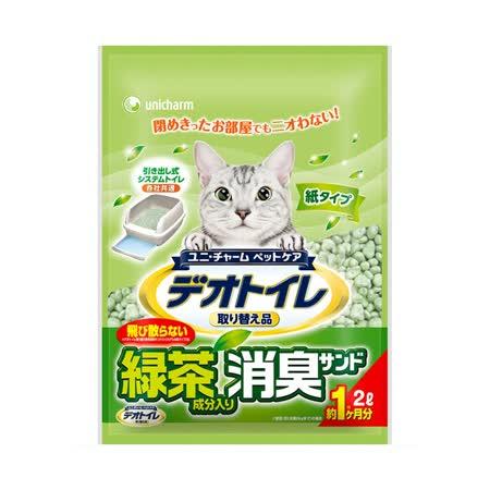 日本Unicharm 消臭大師一月間消臭綠茶紙砂 2L