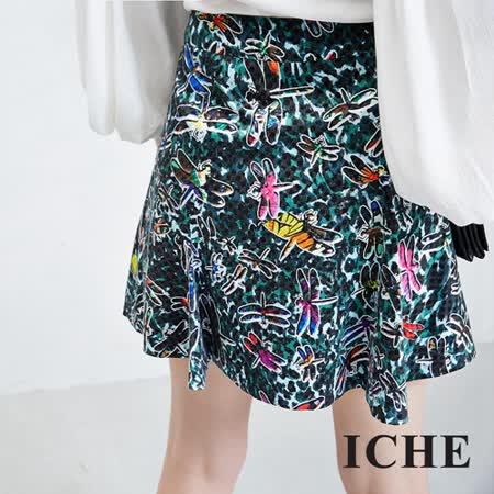 ICHE衣哲 豹紋蜻蜓印花造型短裙