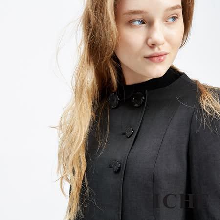 ICHE衣哲 羊毛立領鈕扣打摺造型洋裝