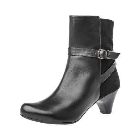 【Kimo德國手工氣墊鞋】雙皮料率性飾扣中跟中筒靴(個性黑K16WF032613)