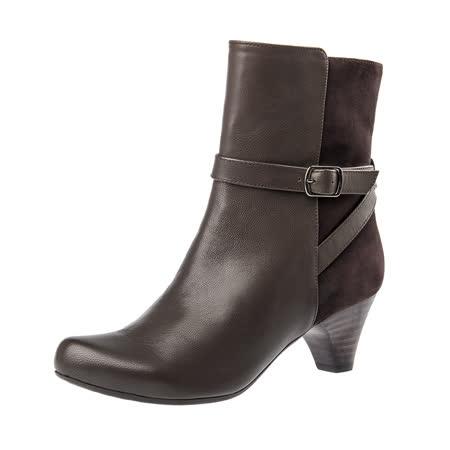 【Kimo德國手工氣墊鞋】雙皮料率性飾扣中跟中筒靴(城市棕K16WF032618)