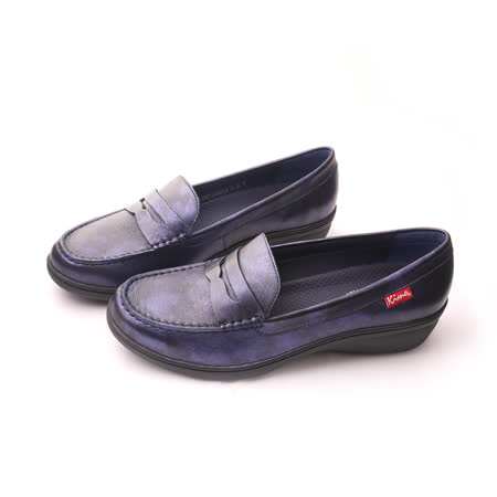 【Kimo德國手工氣墊鞋】復古簡約設計刷舊素面學院風舒適平底鞋(夜湛藍D5116WF009016)