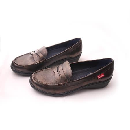【Kimo德國手工氣墊鞋】復古簡約設計刷舊素面學院風舒適平底鞋(城市棕D5116WF009015)