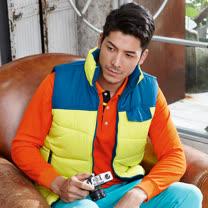 【LEIDOOE】保暖鋪棉舒適休閒雙面穿背心(22069)藍/黃