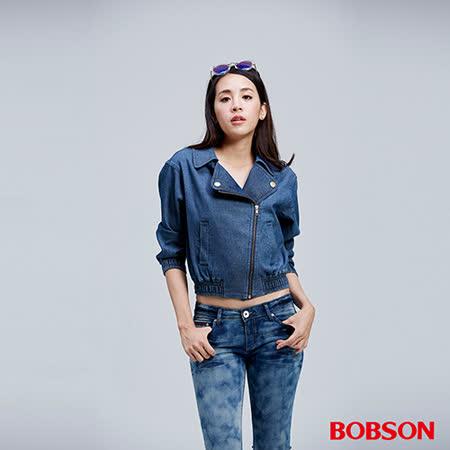 BOBSON 女款騎士針織牛仔外套(35132-53)
