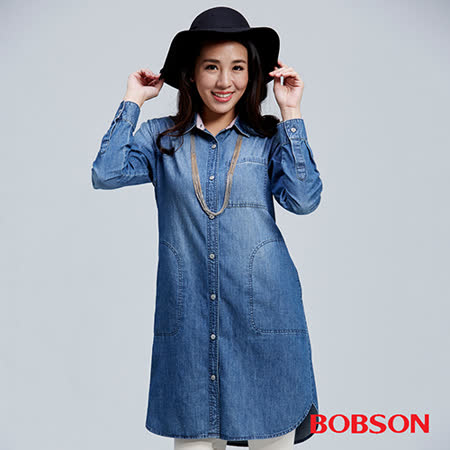 BOBSON 女款長版牛仔襯衫(36125-53)