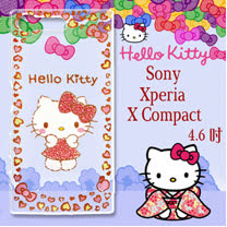 三麗鷗授權 Hello Kitty 凱蒂貓 SONY Xperia X Compact 4.6吋  浮雕彩繪透明手機殼(甜心豹紋)