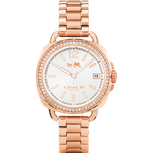 Coach Boyfriend 時尚晶鑽腕錶-銀x玫塊金/34mm 14502644