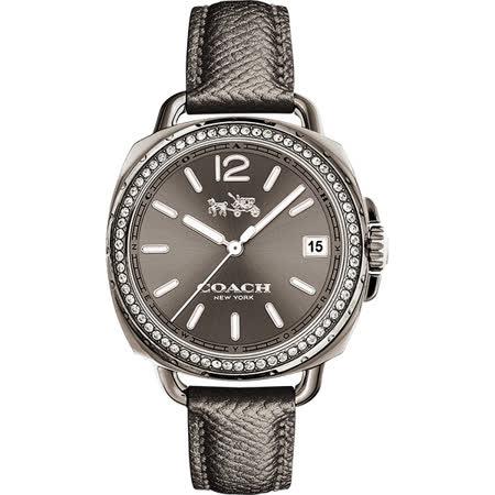 COACH Boyfriend 時尚晶鑽腕錶-灰/34mm 14502628