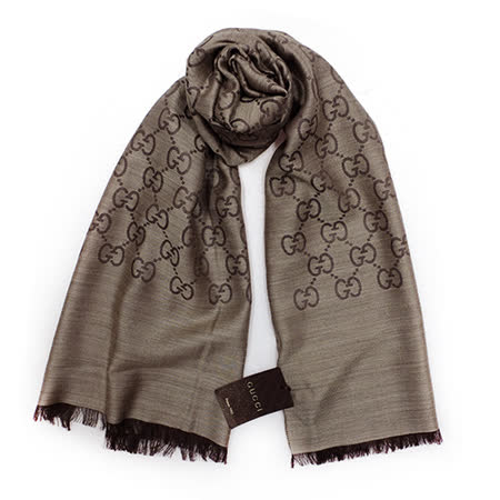 GUCCI 經典LOGO羊毛混紡薄圍巾(咖啡)