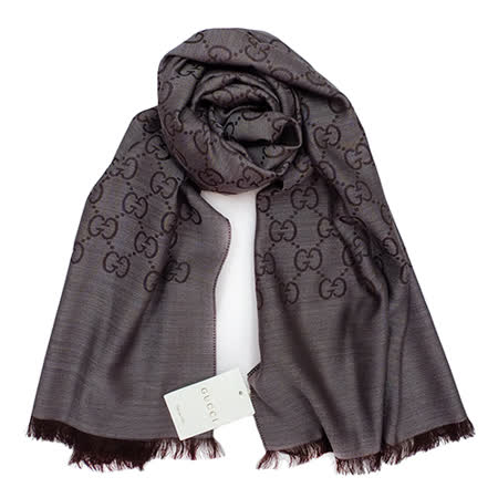 GUCCI 經典LOGO羊毛混紡薄圍巾(灰咖)