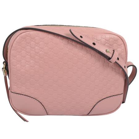 GUCCI 經典雙G緹花皮革壓紋斜背小方包.粉紅