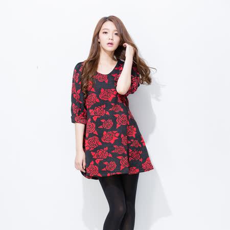 Wonderland   高雅玫瑰顯瘦毛呢洋裝(紅)