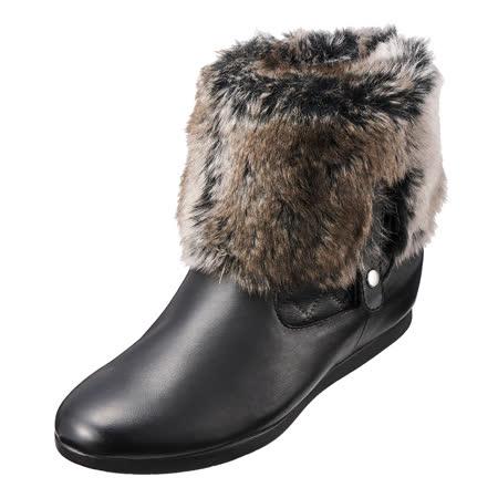 【Kimo德國手工氣墊鞋】兩穿不敗經典流行毛絨禦寒時尚格紋短靴(黑色K15WF034253)