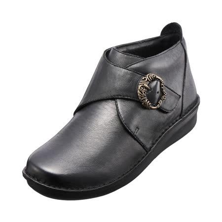 【Kimo德國手工氣墊鞋】典雅釦飾真皮手縫鞋(個性黑K15WF049243)