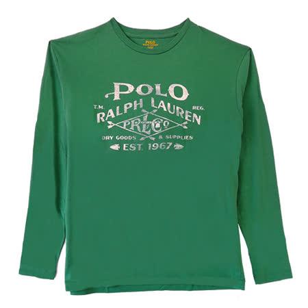 Ralph Lauren 印花字母菱箭長袖男T (綠)