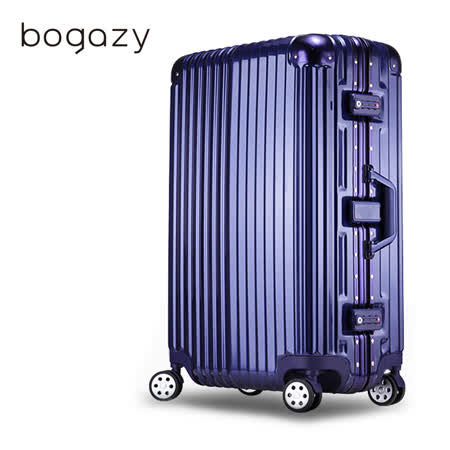 【Bogazy】迷幻森林 29吋鋁框PC鏡面行李箱(時尚藍)