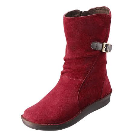 【Kimo德國手工氣墊鞋】氣質麂皮簡約造型手縫中筒靴(淺棗紅K15WF049267)