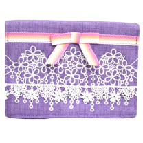 【ANNA SUI】奢華蝴蝶結領刺繡蕾絲面紙套-紫色