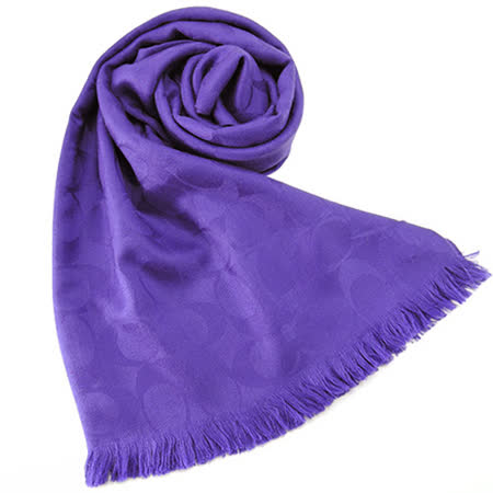 COACH C LOGO 羊毛混絲流蘇圍巾(正紫)