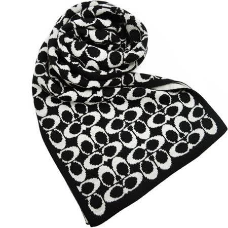 COACH 雙色配LOGO圍巾(黑白)