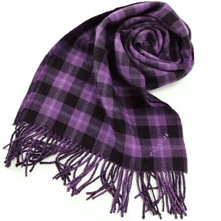 COACH 雙色格紋流蘇圍巾(黑紫)