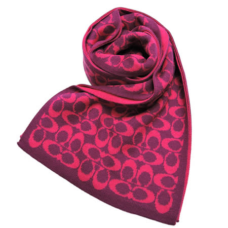 COACH 雙色配LOGO圍巾(桃紫)