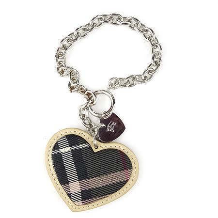 【BURBERRY】愛心布革鑰匙圈-綠色