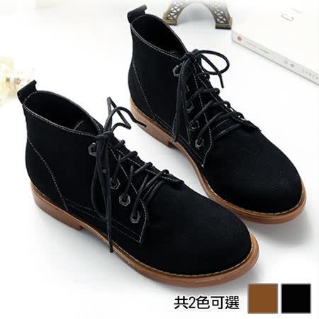 《JOYCE》復古潮流繫帶短筒靴