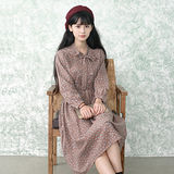 。DearBaby。韓系-森林系女孩小清新綁帶領結收腰印花連身裙(預購)