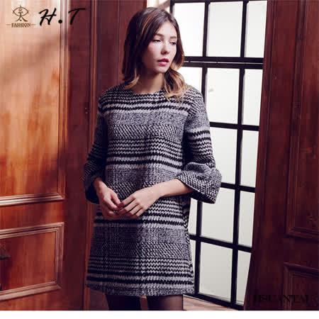 玄太-典雅格紋七分傘袖魅力洋裝(黑)