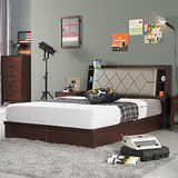 HAPPYHOME 喬巴胡桃色耐磨5尺床箱型雙人床G17-A015-2+A015-3