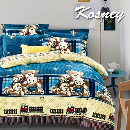 《KOSNEY  小熊故事》頂級法蘭絨雙人四件式兩用被套床包組