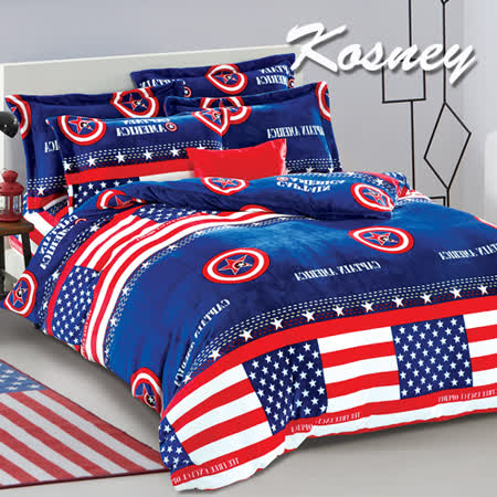 《KOSNEY  北美假日》頂級法蘭絨特大四件式兩用被套床包組