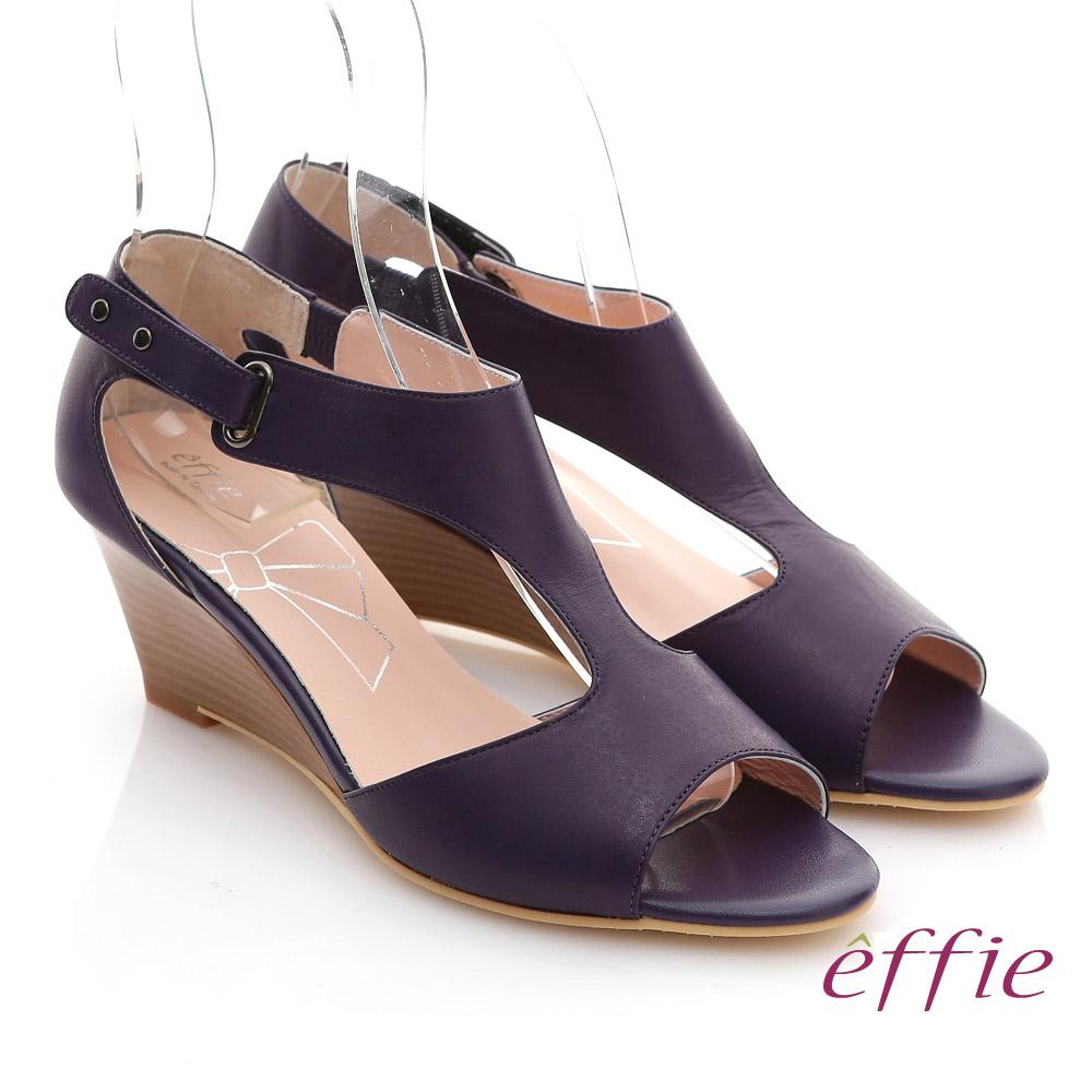 【effie】慵懶旅行 全真皮T字魔鬼氈楔型涼鞋(暗紫)