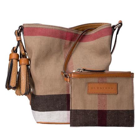 BURBERRY THE ASHBY CANVAS格紋皮革肩背包附小袋(小/棕色)