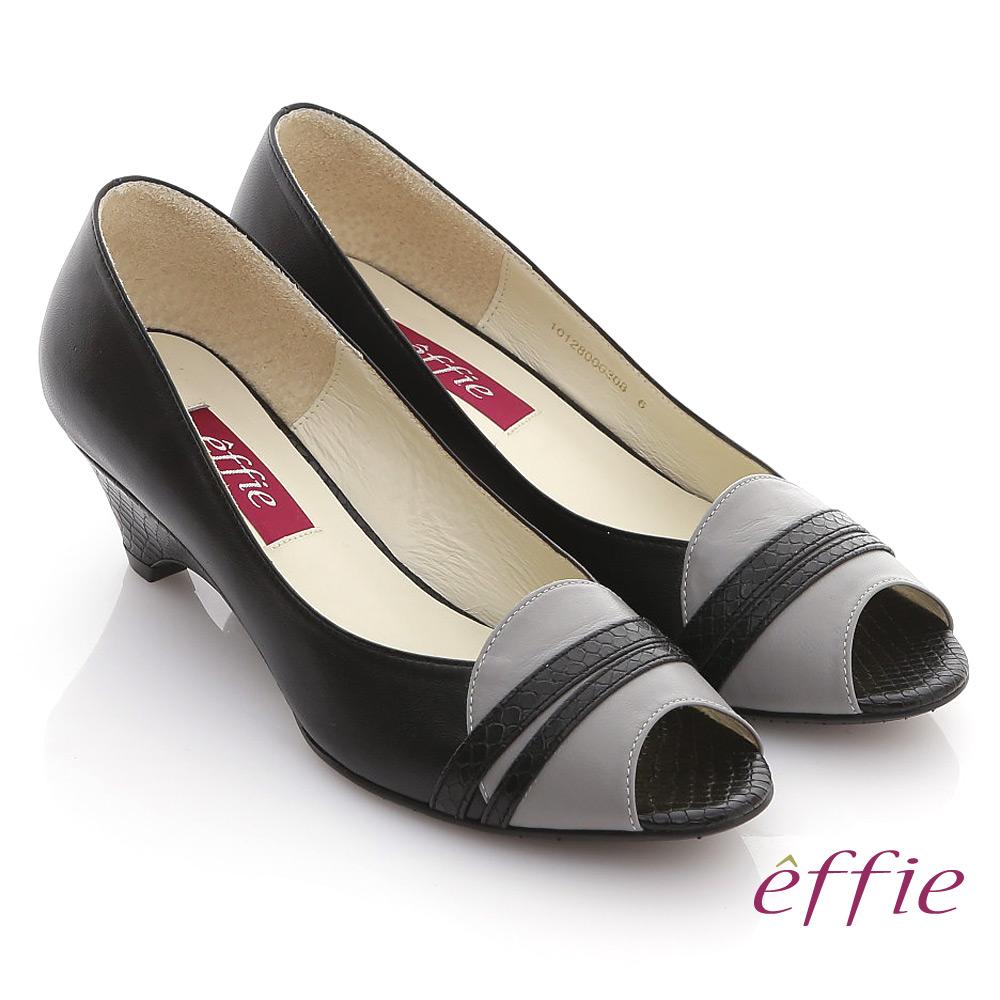 【effie】魔法玩色 全真皮拼色魚口楔型跟鞋(黑)