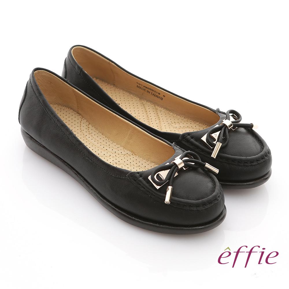 【effie】馬卡龍系列 摔花牛軟皮拼接蝴蝶結壓摺帆船鞋(黑)