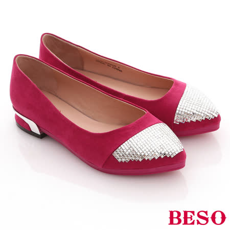 【BESO】流金歲月-飽和色絨料拼滿版方鑽低跟尖頭鞋(桃粉紅)