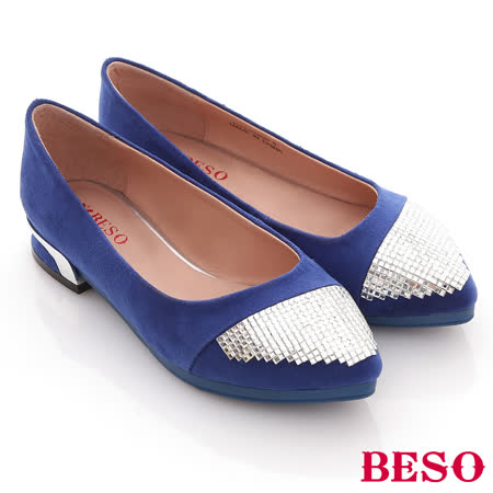 【BESO】流金歲月-飽和色絨料拼滿版方鑽低跟尖頭鞋(藍)