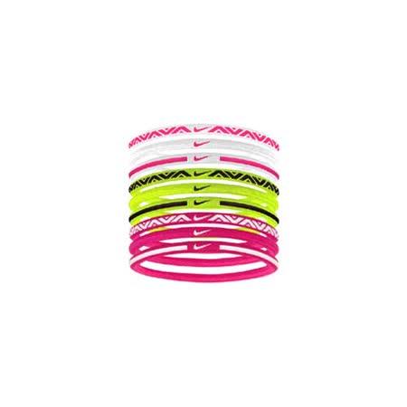 NIKE 彈力髮帶 2.0-9條入 髮飾 滿跑 路跑 瑜珈 訓練 健身 白桃紅螢光黃 F