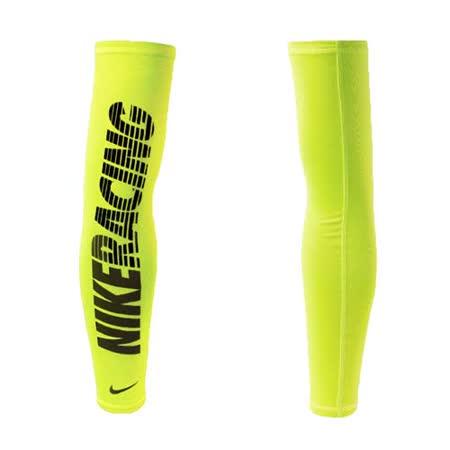 NIKE 輕量圖案臂套-防曬 慢跑 單車 自行車 袖套 一雙入 螢光黃黑 S