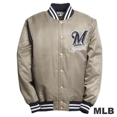 (男)MLB-釀酒人隊鋪棉棒球外套-卡其