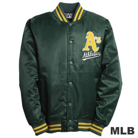 (男)MLB-奧克蘭運動家隊鋪棉棒球外套-深綠