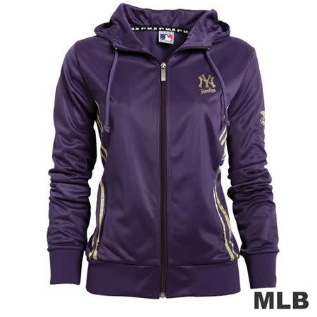 (女)MLB-紐約洋基隊金條運動外套-深紫