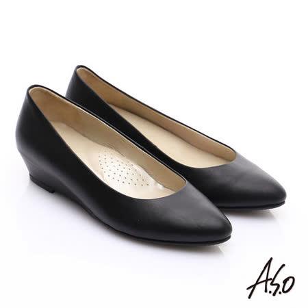【A.S.O】舒適通勤 全牛皮窩心通勤楔型鞋(黑軟皮)