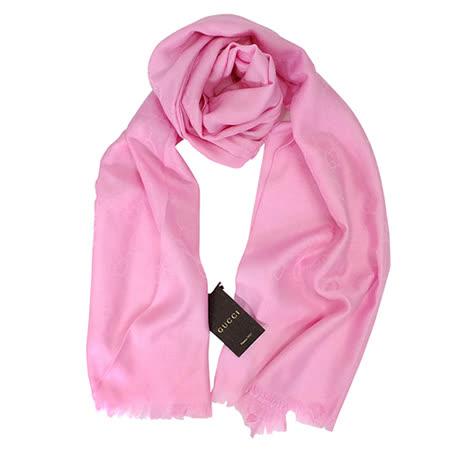 GUCCI 經典LOGO羊毛混紡薄圍巾(粉紅)