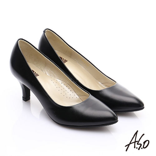 ~A.S.O~舒適通勤 全真皮通勤尖楦俐落高跟鞋^(黑軟皮^)