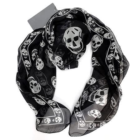 Alexander McQueen經典骷髏真絲圍巾(黑)
